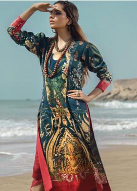 Al Karam Printed Cotton Satin Unstitched 2 Piece Suit AK19N FW-D14-19-2 - Luxury Collection