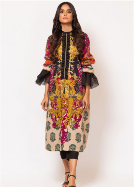 Al Karam Printed Cotton Satin Unstitched Kurties AK19N FW-D1A-19-2 - Luxury Collection