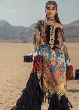 Al Karam Printed Cotton Satin Unstitched 2 Piece Suit AK19N FW-D6-19-2 - Luxury Collection