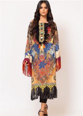 Al Karam Printed Cotton Satin Unstitched Kurties AK19N FW-D6A-19-2 - Luxury Collection
