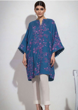 Al Karam Printed Denim Unstitched Kurties AK19L SS-67-19 Blue - Spring / Summer Collection