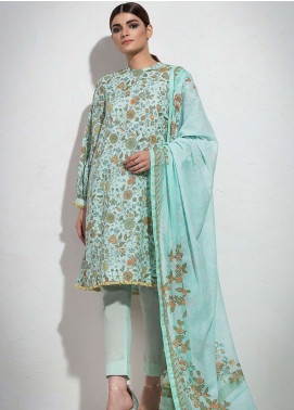 Al Karam Printed Lawn Unstitched 3 Piece Suit AK19L SS-32.1-19 Green - Spring / Summer Collection