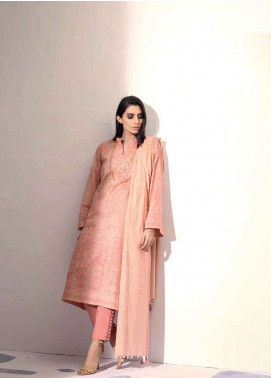 Al Karam Printed Lawn Unstitched 3 Piece Suit AK19L SS-14-19 Peach - Spring / Summer Collection