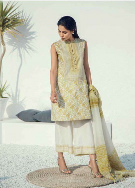 Al Karam Printed Lawn Unstitched 3 Piece Suit AK19L SS-50.1-19 Mustard - Spring / Summer Collection