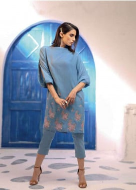 Al Karam Embroidered Denim Unstitched Kurties AK19L SS-66-19 Blue - Spring / Summer Collection