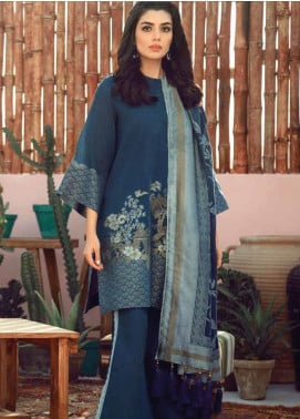 Al Karam Printed Jacquard Unstitched 3 Piece Suit AK20SSL SS-03-20-TEAL BLUE - Spring / Summer Collection