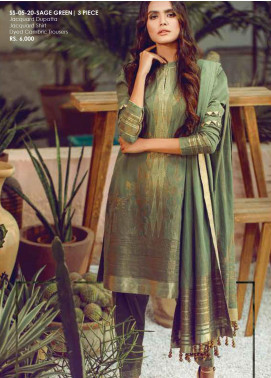 Al Karam Printed Jacquard Unstitched 3 Piece Suit AK20SSL SS-05-20-SAGE GREEN - Spring / Summer Collection