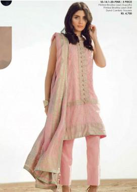 Al Karam Printed Lawn Unstitched 3 Piece Suit AK20SSL SS-14.1-20-PINK - Spring / Summer Collection