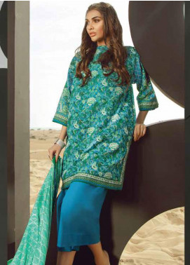 Al Karam Printed Lawn Unstitched 3 Piece Suit AK20SSL SS-15.1-20-BLUE - Spring / Summer Collection