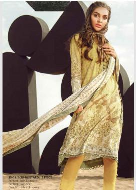Al Karam Printed Lawn Unstitched 3 Piece Suit AK20SSL SS-16.1-20-MUSTARD - Spring / Summer Collection