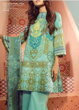 Al Karam Printed Lawn Unstitched 3 Piece Suit AK20SSL SS-17-20-SEA GREEN - Spring / Summer Collection