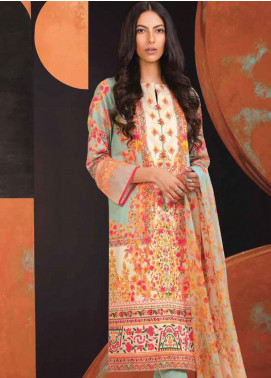 Al Karam Printed Cotton Satin Unstitched 3 Piece Suit AK20SSL SS-18.1-20-MINT GREEN - Spring / Summer Collection