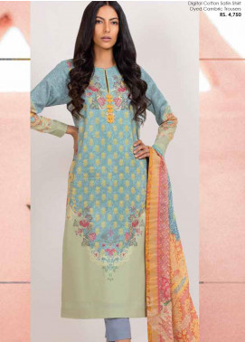 Al Karam Printed Cotton Satin Unstitched 3 Piece Suit AK20SSL SS-19-20-LIGHT BLUE - Spring / Summer Collection