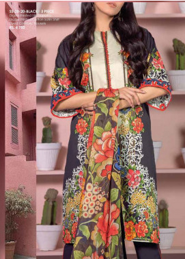 Al Karam Printed Cotton Satin Unstitched 3 Piece Suit AK20SSL SS-20-20-BLACK - Spring / Summer Collection