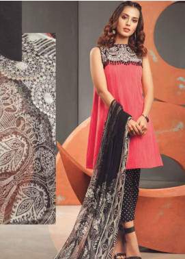 Al Karam Embroidered Yarn Unstitched 3 Piece Suit AK20SSL SS-21.1-20-PINK - Spring / Summer Collection