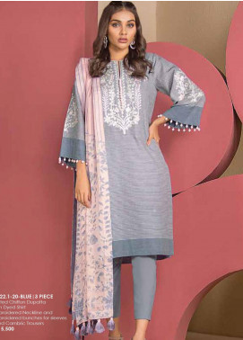 Al Karam Embroidered Yarn Unstitched 3 Piece Suit AK20SSL SS-22.1-20-BLUE - Spring / Summer Collection