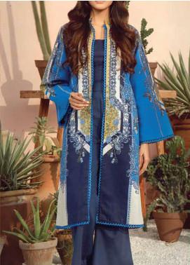 Al Karam Printed Lawn Unstitched 2 Piece Suit AK20SSL SS-25-20-BLUE - Spring / Summer Collection
