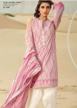 Al Karam Printed Lawn Unstitched 2 Piece Suit AK20SSL SS-25.1-20-PINK - Spring / Summer Collection