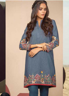 Al Karam Embroidered Denim Unstitched Kurties AK20SSL SS-29.1-20-BLUE - Spring / Summer Collection