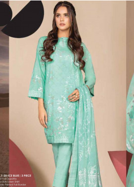 Al Karam Printed Lawn Unstitched 3 Piece Suit AK20SSL SS-31.1-20-ICE BLUE - Spring / Summer Collection