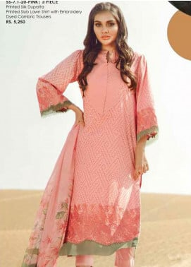 Al Karam Embroidered Lawn Unstitched 3 Piece Suit AK20SSL SS-7.1-20-PINK - Spring / Summer Collection