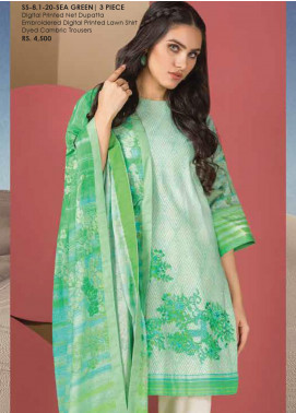 Al Karam Embroidered Lawn Unstitched 3 Piece Suit AK20SSL SS-8.1-20-SEA GREEN - Spring / Summer Collection
