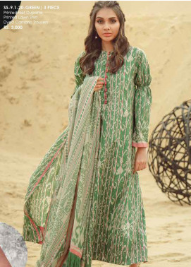 Al Karam Printed Lawn Unstitched 3 Piece Suit AK20SSL SS-9.1-20-GREEN - Spring / Summer Collection