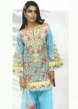 Al Karam Embroidered Lawn Unstitched 3 Piece Suit AK18-L2 F20 BLUE - Spring Summer Collection