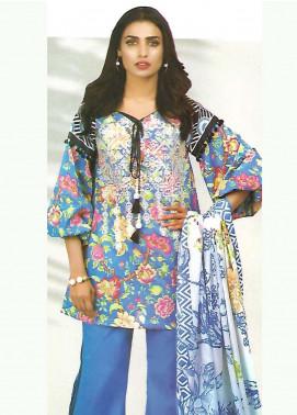 Al Karam Embroidered Lawn Unstitched 3 Piece Suit AK18-L2 F21 BLUE - Spring Summer Collection