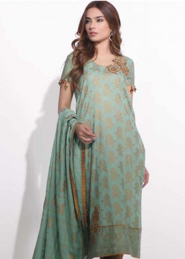 Al Karam Embroidered Lawn Unstitched 2 Piece Suit AK19-L2 9.1 GREEN - Spring / Summer Collection