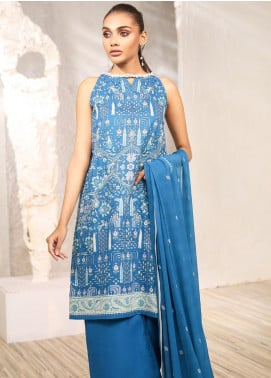 Al Karam Printed Lawn Unstitched 3 Piece Suit AK20SSL-2 SS-10-1-20-2 Blue - Spring / Summer Collection