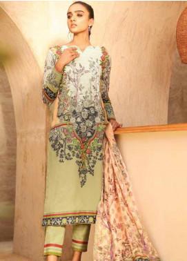 Al Karam Printed Lawn Unstitched 3 Piece Suit AK20SSL-2 SS-12 BEIGE - Spring / Summer Collection