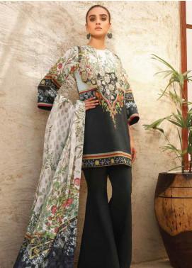 Al Karam Printed Lawn Unstitched 3 Piece Suit AK20SSL-2 SS-12 BLACK - Spring / Summer Collection