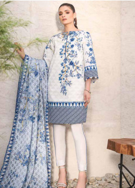 Al Karam Printed Lawn Unstitched 3 Piece Suit AK20SSL-2 SS-14 BLUE - Spring / Summer Collection