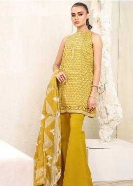 Al Karam Printed Lawn Unstitched 3 Piece Suit AK20SSL-2 SS-15-1-20 Mustard - Spring / Summer Collection