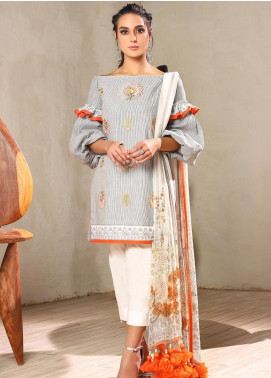 Al Karam Embroidered Yarn Unstitched 3 Piece Suit AK20SSL-2 SS-18-1-20 Grey - Spring / Summer Collection