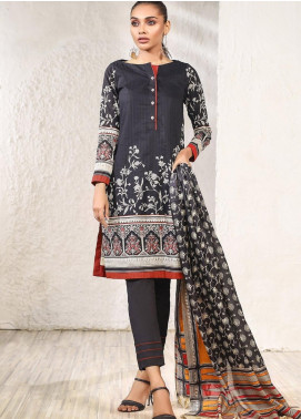 Al Karam Printed Doria Unstitched 2 Piece Suit AK20SSL-2 SS-2-1-20-2 Black-T - Spring / Summer Collection