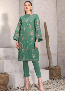 Al Karam Embroidered Denim Unstitched Kurties AK20SSL-2 SS-25 GREEN - Spring / Summer Collection