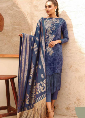 Al Karam Embroidered Lawn Unstitched 3 Piece Suit AK20SSL-2 SS-3 NAVY BLUE - Spring / Summer Collection