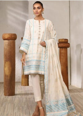 Al Karam Printed Jacquard Unstitched 3 Piece Suit AK20SSL-2 SS-5-1-20 Off White - Spring / Summer Collection