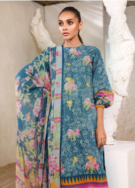 Al Karam Embroidered Lawn Unstitched 3 Piece Suit AK20SSL-2 SS-8-1-20-2 Teal - Spring / Summer Collection