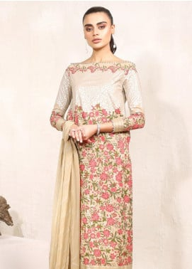 Al Karam Printed Lawn Unstitched 3 Piece Suit AK20SSL-2 SS-9-1-20 Beige - Spring / Summer Collection
