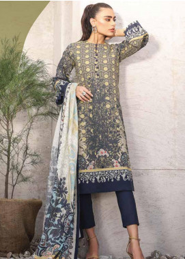Al Karam Printed Lawn Unstitched 3 Piece Suit AK20SSL-2 SS-9 BLUE - Spring / Summer Collection