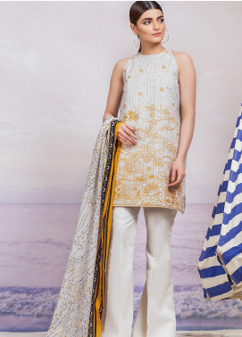 Al Karam Embroidered Lawn Unstitched 3 Piece Suit AK19-L2 19 BEIGE - Spring / Summer Collection