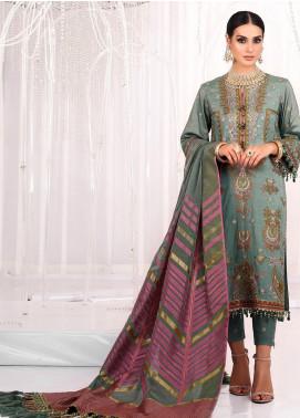 Al Karam Embroidered Cotton Net Unstitched 3 Piece Suit AK20FC-11E Sage Green - Festive Collection