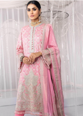 Al Karam Embroidered Cotton Silk Unstitched 3 Piece Suit AK20FC-12E Pink - Festive Collection