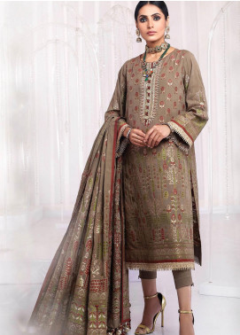 Al Karam Embroidered Jacquard Unstitched 3 Piece Suit AK20FC-1A CAMEL - Festive Collection