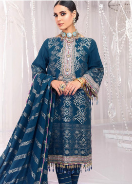 Al Karam Embroidered Jacquard Unstitched 3 Piece Suit AK20FC-2A BLUE - Festive Collection