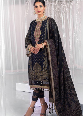 Al Karam Embroidered Jacquard Unstitched 3 Piece Suit AK20FC-3A Black - Festive Collection