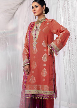 Al Karam Embroidered Jacquard Unstitched 3 Piece Suit AK20FC-4B Orange - Festive Collection